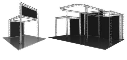 Stands auto-portants offrant des possibilités diverses en taille et forme.