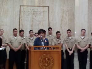 APS Board Member and Stand4KidsNM co-founder Kathy Korte speaks in the Capitol Rotunda on West Side Day, Jan. 30, 2014.