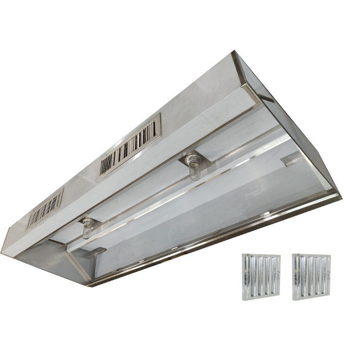 low profile commercial kitchen exhaust w makeup air hood nfpa 96 nsf 20 x 48 x length