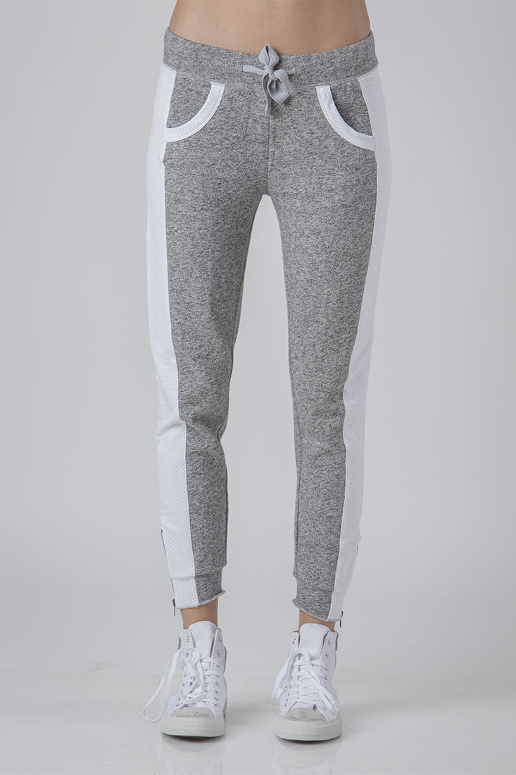 Women's Sami Heather Grey French Terry Mesh Side Ankle Zip Pull On Jogger Pants / Standards & Practices Size S