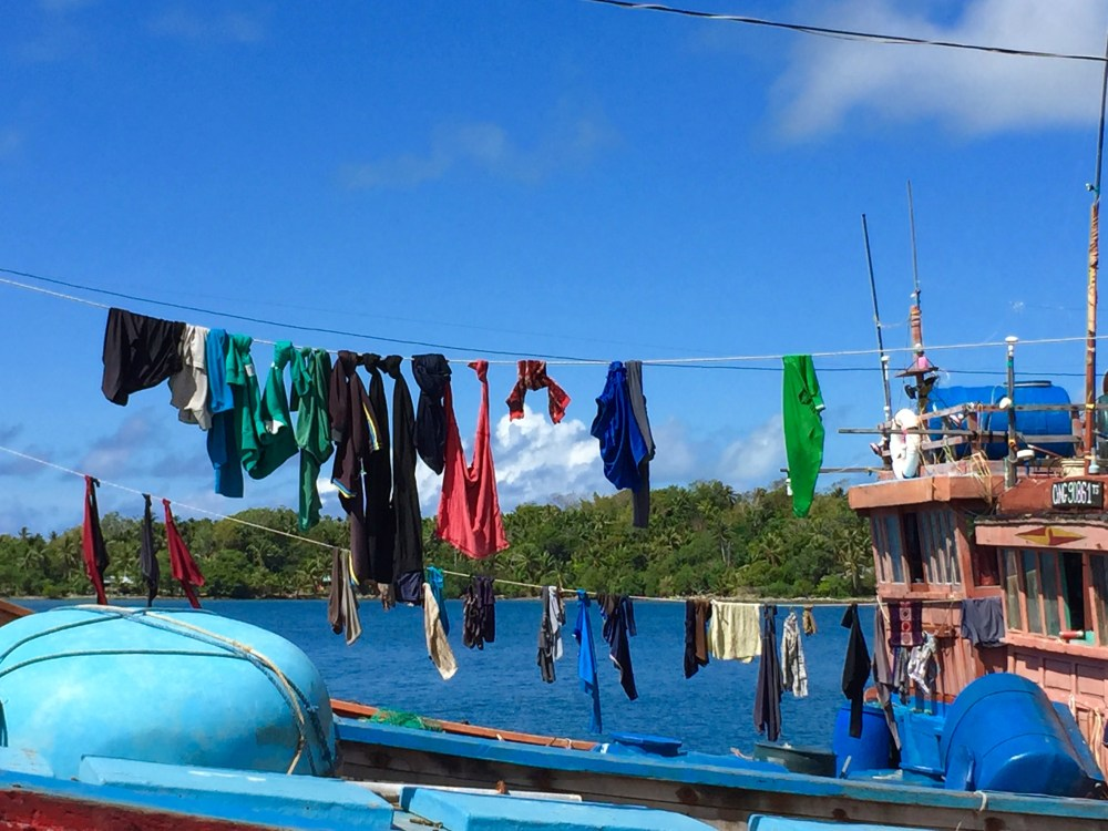 Clothes hanging to dry on boat
