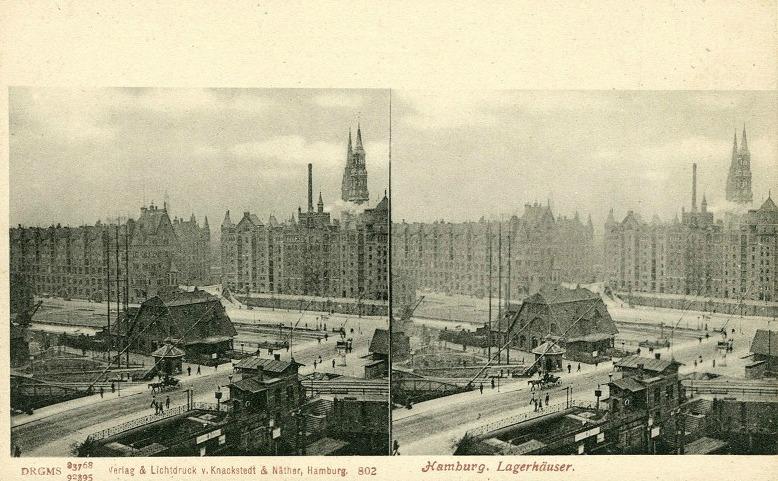 Hamburg.Freihafen Speicherstadt pakhuizen rond 1900 -2
