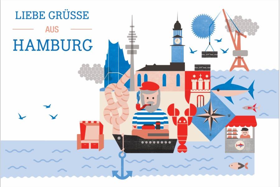 Dawanda Postkarte Hamburg