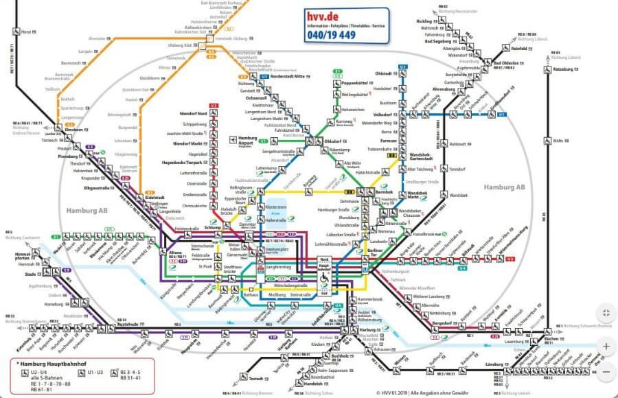 OV-plan Hamburg HVV