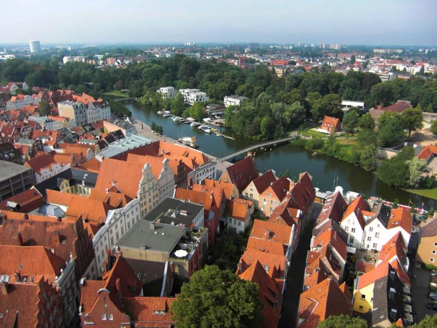 Bezienswaardigheden in Lübeck: uitzicht over de stad vanaf de St. Petri