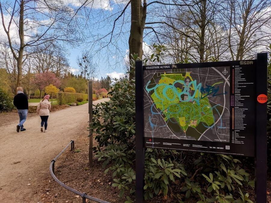 Plattegrond van het Volkspark, ingang Schulgarten