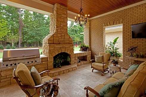 Covered Patio Designs For Outdoor Fireplaces...Undercover ... on Covered Outdoor Kitchen With Fireplace id=16596