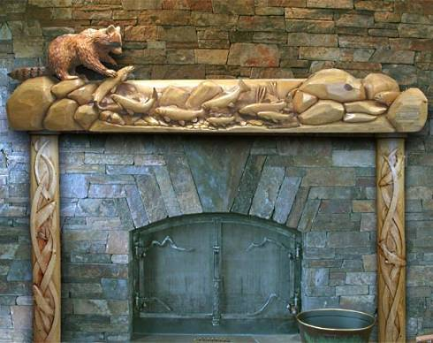 Wildlife Wood Carved Fireplace Mantels