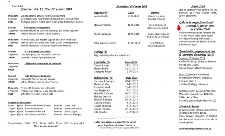 Feuillet paroissial- Semaines du 13, 20 & 27 janvier 2019