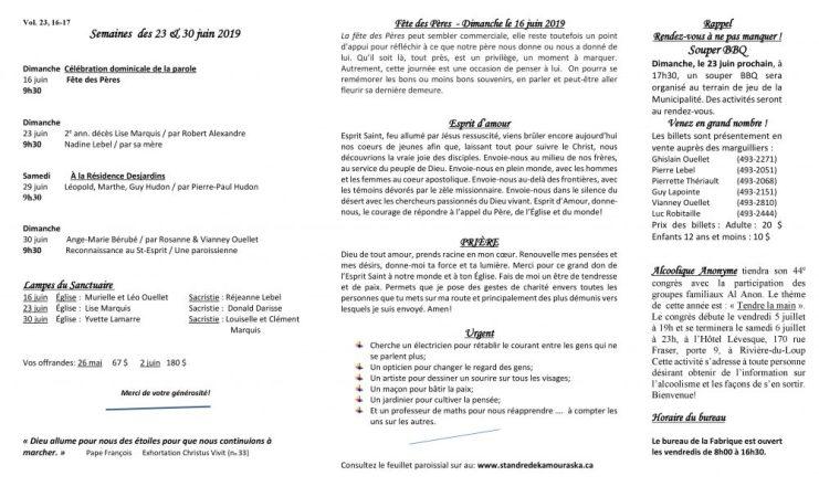 Feuillet paroissial-Semaines du 23 & 30 juin 2019