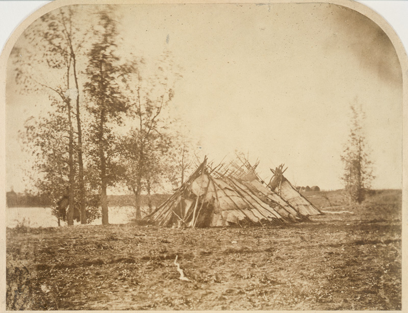Ojibwe Birch Bark tipis, west bank of Red River, Middle Settlement, 1858