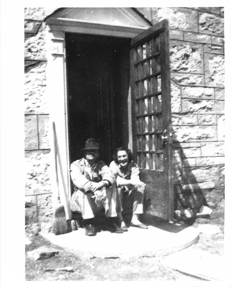 Couple at back west door circa 1940