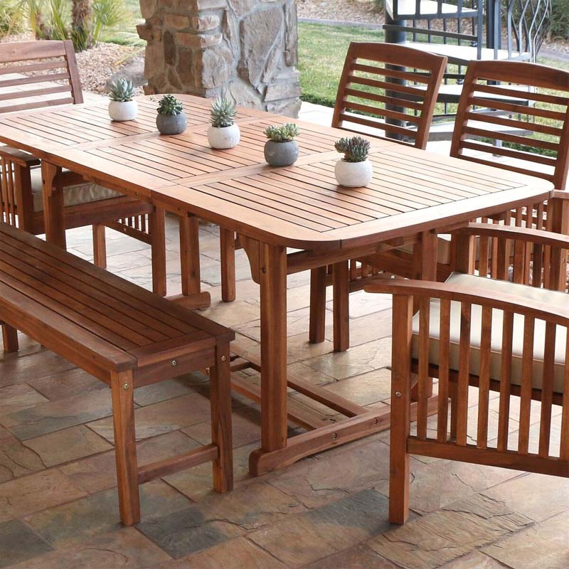 walker edison acacia wood butterfly patio table brown owtexbr