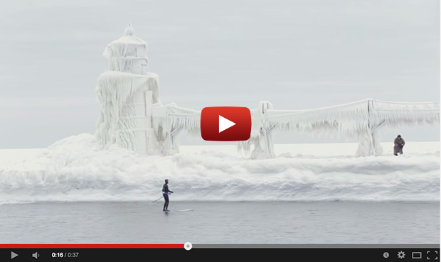 Icebergs on Lake Michigan Let's Go Standup Paddling
