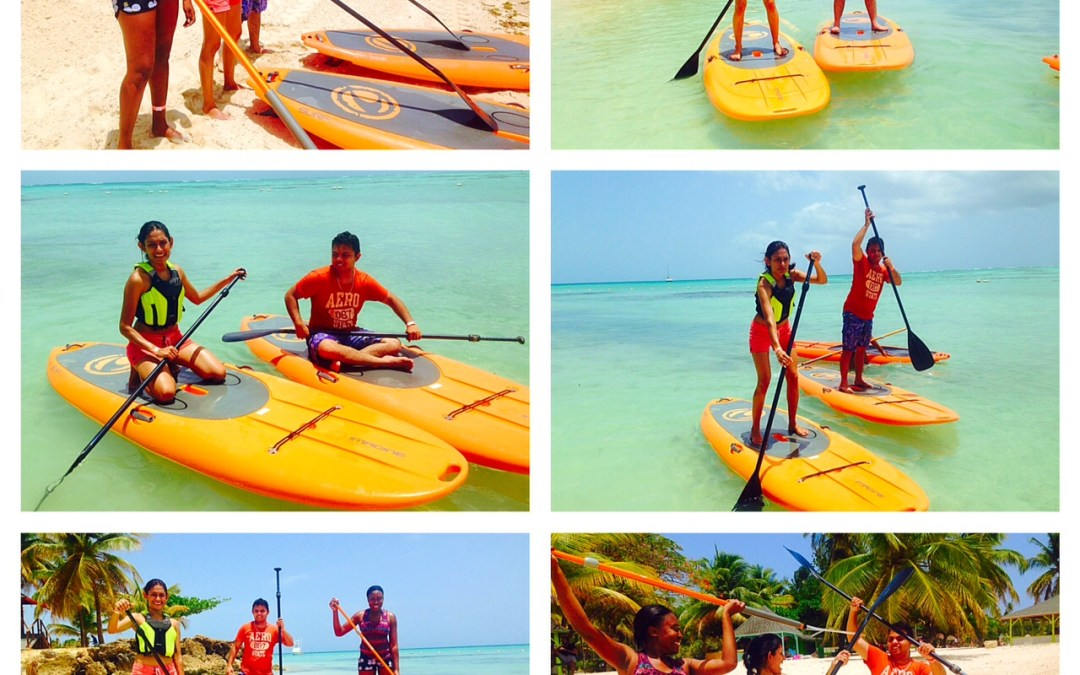 Friends Learn to Stand Up Paddle in Tobago