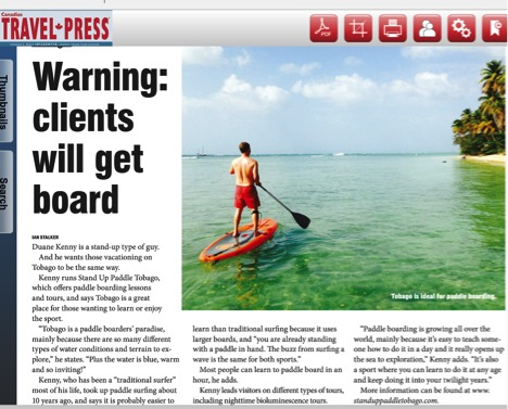 Stand Up Paddle Tobago in the Canadian Travel Press