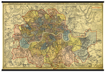 Wall Hanging Stanford s London Map 1888   Stanfords Wall Hanging Stanford s London Map 1888
