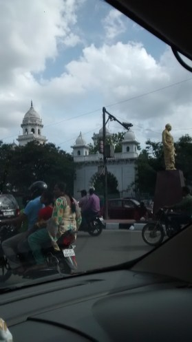 Houses and temples in the streets of Hyderabad