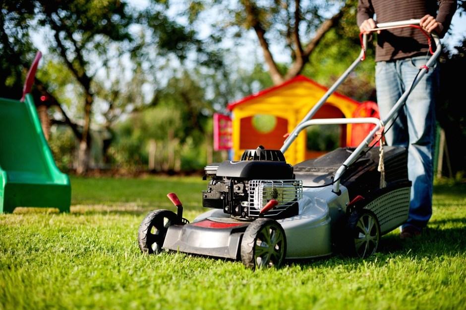 using a lawn mower