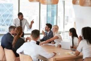 group of people having a meeting