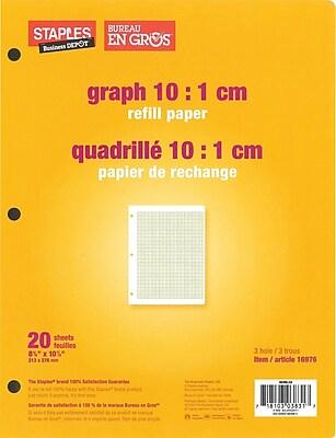 staples graph 10 1 cm quad refill paper 8 3 8