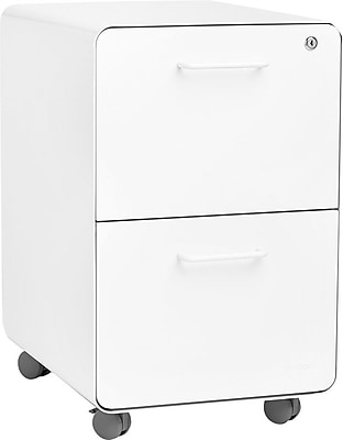 Poppin Stow File Cabinet Rolling 2 Drawer White 100914