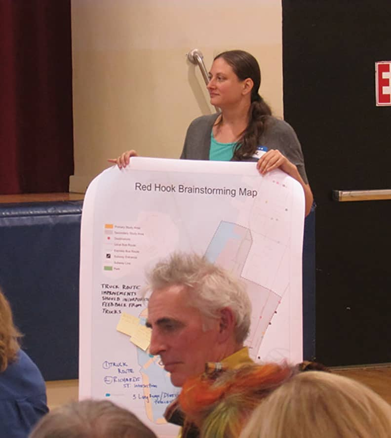 Aline Feder attending a local Red Hook meeting during the time she was researching the report.