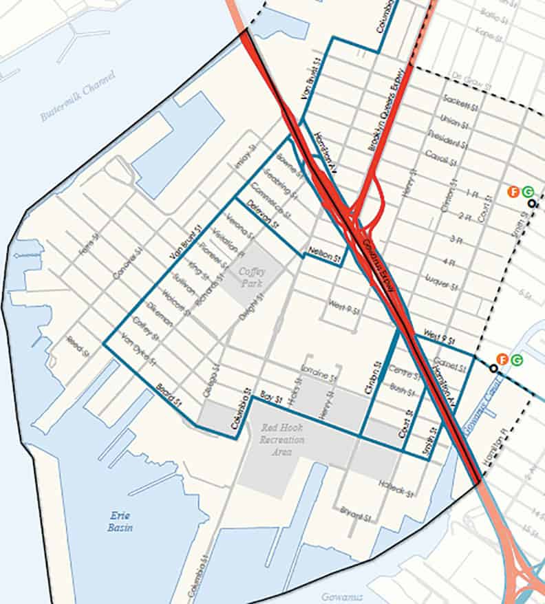 A map of the existing truck routes that go through Red Hook