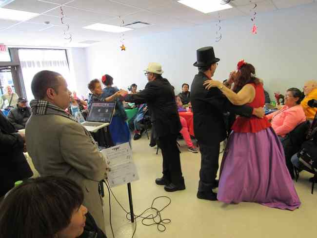 The dance celebration during the opening of the senior center.