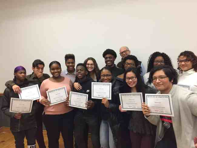 These are the students who finished the documentary course at the Justice Center.