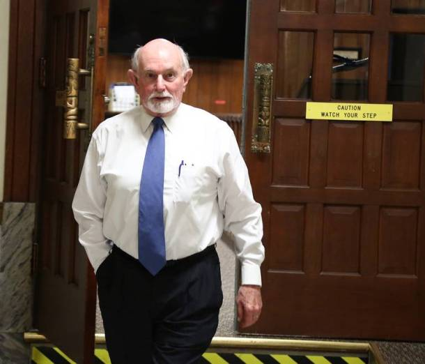 State District Court Judge Ralph Strother leaves his courtroom at the McLennan County Courthouse in Waco, Texas, in this April photo.