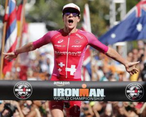 ASSOCIATED PRESS                                 Daniela Ryf, of Switzerland, reacts as she wins the Ironman World Championship Triathlon, Oct. 13, 2018, in Kailua-Kona.