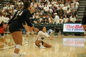 ALEXANDER BOHLEN / SPECIAL TO THE STAR-ADVERTISER                                 Hawaii's Rika Okino passes the ball during Friday's match at Cal Poly.