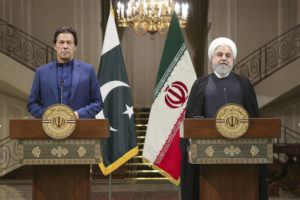 COURTESY OFFICE OF THE IRANIAN PRESIDENCY Iranian President Hassan Rouhani, right, and Pakistani Prime Minister Imran Khan give a joint press conference at the Saadabad Palace, in Tehran, Iran, today.