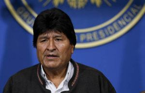 ASSOCIATED PRESS                                 Bolivia's President Evo Morales looks on during a press conference in La Paz, Bolivia, t oday. Morales is calling for new presidential elections and an overhaul of the electoral system after a preliminary report by the Organization of American States found irregularities in the Oct. 20 elections.