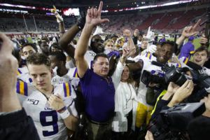 ASSOCIATED PRESS                                 LSU head coach Ed Orgeron celebrates with his players after defeating Alabama 46-41 in an NCAA college football game on Saturday in Tuscaloosa, Ala.