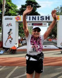 COURTESY PHOTO                                 Gladys Burrill ran her first marathon in 2004  at the age of 86. She completed five out of seven marathon attempts, setting a Guinness World Record for being the oldest woman to complete a marathon on her last event, on Dec. 12, 2010.