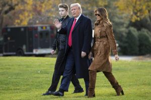 ASSOCIATED PRESS                                 President Donald, first lady Melania Trump, and Barron Trump, walked to board Marine One, Nov. 26, on the South Lawn of the White House, in Washington. Melania Trump is quietly forging her way through President Donald Trump's impeachment.