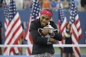 ASSOCIATED PRESS / 2014                                 Serena Williams, of the United States, hugs the championship trophy after defeating Caroline Wozniacki, of Denmark, during the championship match of the U.S. Open on Sept. 7, 2014.