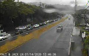 GOAKAMAI.ORG                                 Traffic was backed up in the Kailua-bound lanes of the Pali Highway by Jack Lane today.