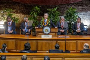 DENNIS ODA / DODA@STARADVERTISER.COM                                 Gov. David Ige gives the State of the State address today in the state House chamber at the state Capitol.