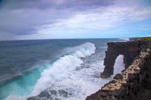 COURTESY NATIONAL PARK SERVICE / JANICE WEI                                 The Holei Sea Arch overlook has been closed until further notice due to new cracks and instability observed on the coastal cliffs.