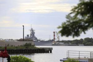 ASSOCIATED PRESS                                 A U.S. naval ship can been seen from Pearl Harbor National Memorial on Dec. 4, 2019.