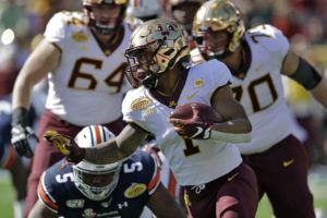 ASSOCIATED PRESS                                 Minnesota running back Rodney Smith (1) runs past Auburn defensive tackle Derrick Brown (5) during the first half of the Outback Bowl NCAA college football game today in Tampa, Fla.