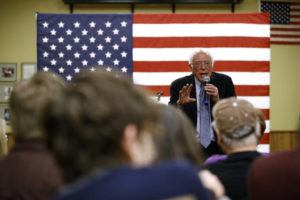 ASSOCIATED PRESS                                 Democratic presidential candidate U.S. Sen. Bernie Sanders, I-Vt., speaks during a campaign event today at the National Motorcycle Museum in Anamosa, Iowa.