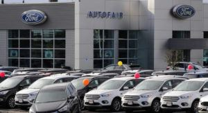 ASSOCIATED PRESS Cars for sale at a Ford dealership in Manchester, N.H., in August. New vehicle sales in the U.S. fell slightly last year, but the numbers still passed the healthy 17 million mark for the fifth straight year. Automakers sold 17.1 million new cars, trucks and SUVs in 2019, down about 1% from the previous year.