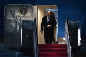 ASSOCIATED PRESS                                 President Donald Trump and first lady Melania Trump exit Air Force One on Sunday at Andrews Air Force Base, Md., following a trip to his Mar-a-Lago estate.