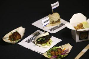 ASSOCIATED PRESS                                 A variety of Impossible Pork dishes from Impossible Foods, the California plant-based meat company, were displayed as the company unveiled Impossible Pork and Impossible Sausage before the CES tech show, Monday, in Las Vegas.