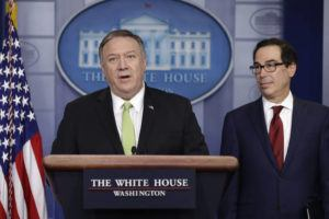ASSOCIATED PRESS                                 Secretary of State Mike Pompeo and Treasury Secretary Steve Mnuchin brief reporters about additional sanctions placed on Iran today.