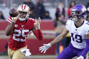 ASSOCIATED PRESS                                 San Francisco 49ers cornerback Richard Sherman intercepts a pass in front of Minnesota Vikings wide receiver Adam Thielen.
